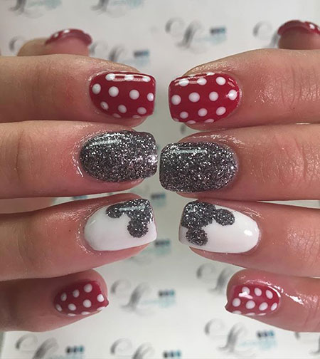 Disney Nail Art Design, Disney Mouse Minnie Love