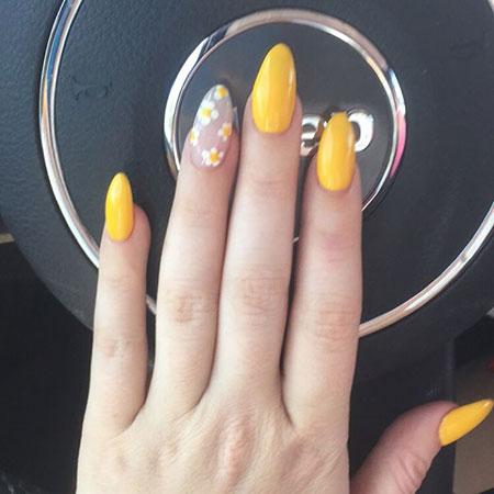 Flower Nail Art Design, Yellow Gel Almond Flower
