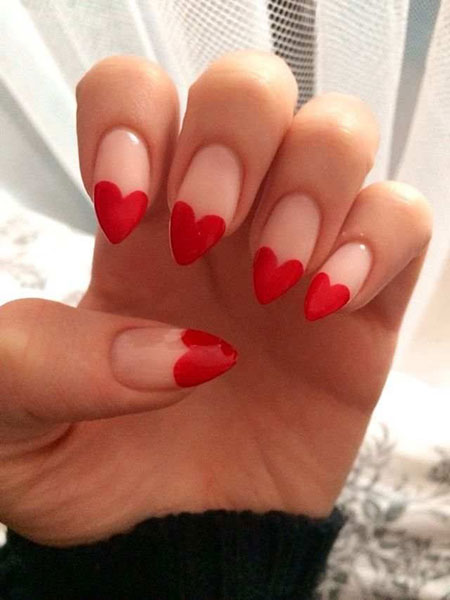 Heart Nail Design, Heart Red Valentines Love