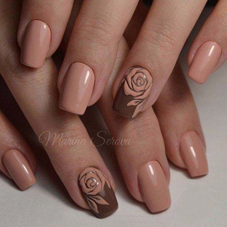 Rose Nail Art Design, Simple Rose Wedding Manicure