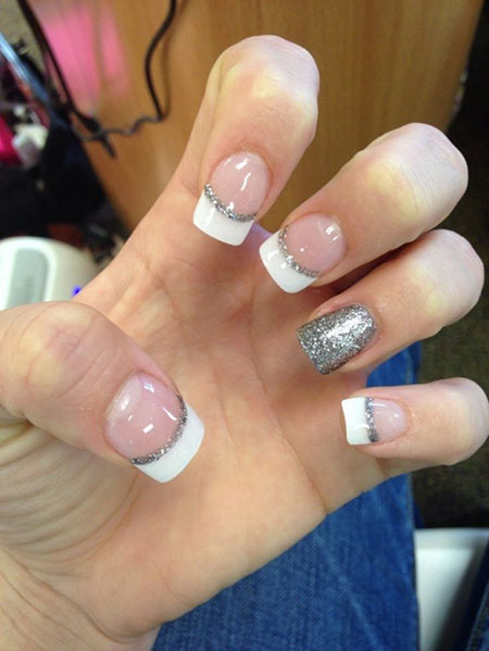 French Manicure Silver White