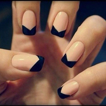 Black French Manicure Nude