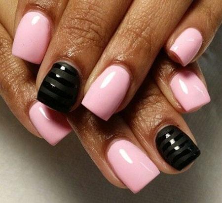 Pink Black Polish Manicure