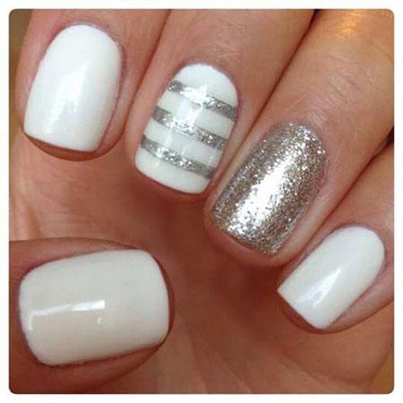 White Manicure Silver Glitter
