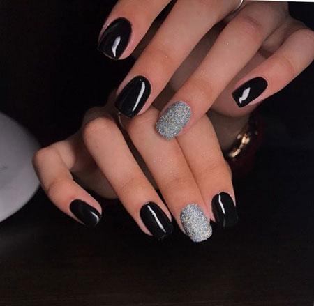 Glitter Black and Silver Nails, Silver Glitter Black Polish
