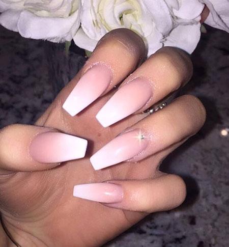 Pink White Ombre Nail, Coffin Pink White Pretty