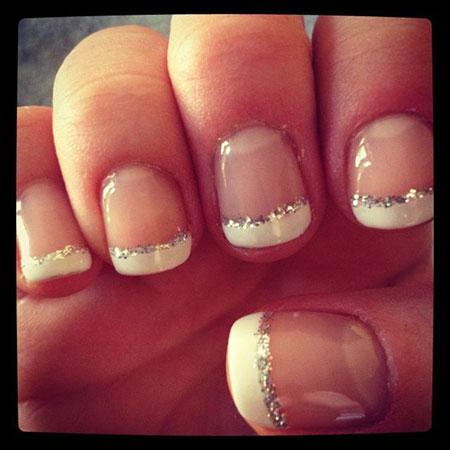 Wedding French Nails, Wedding French Ideas Glitter