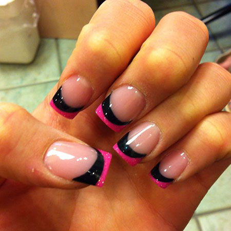 Pink Black French Nail Art, Manicure Pink Black French