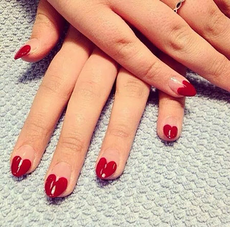 Cute Valentines Day Nails, Heart Manicure Gel Red