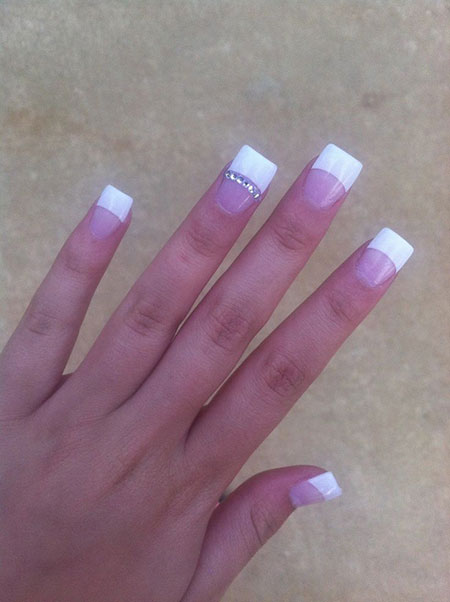 French Nail Art, Manicure White French Acrylic