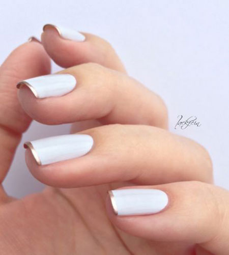 White Polish Manicure Gold