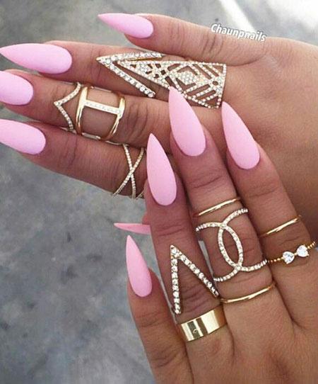 Stiletto Pink Matte Acrylic