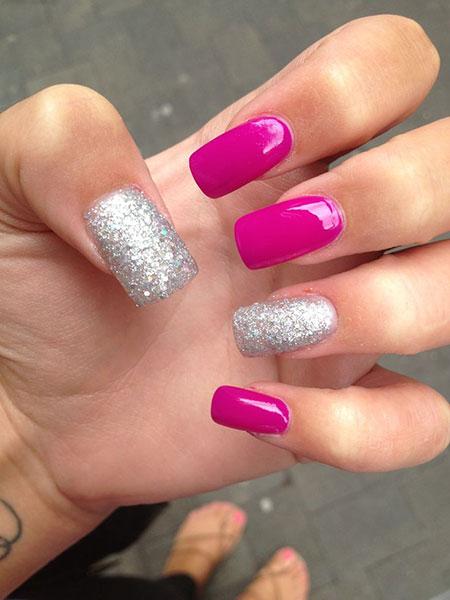 Acrylic Pink Silver Glitter