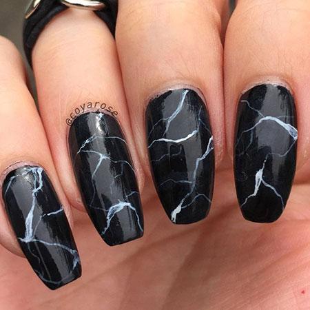 Black Marble Nail Art, Black Halloween