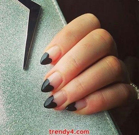 Black Heart Nail Art, Heart Black Opi Gel