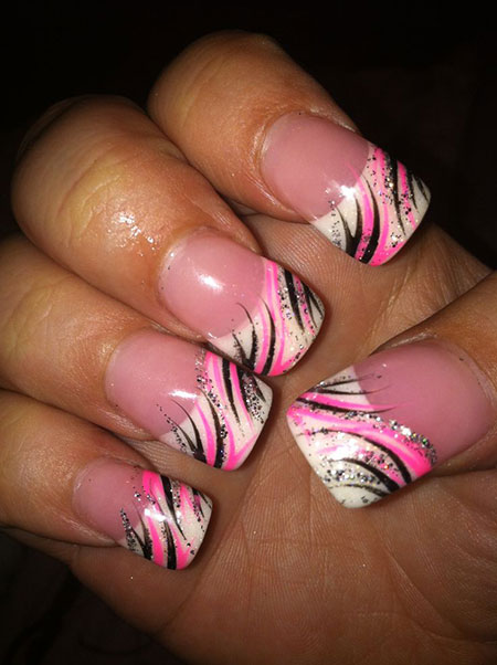Acrylic Pink Black Nail Design, Pink Black Hot Galleries
