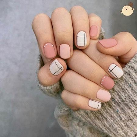 Easy Geometric Nail Design, Geometric Manicure Ideas White
