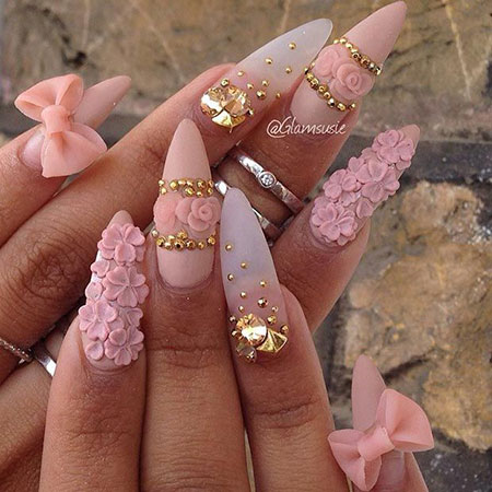 3D Stiletto Nail Design, Stiletto Pink 3D Hard