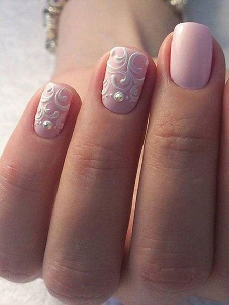 Short Wedding Nails, Manicure White Pale Pink