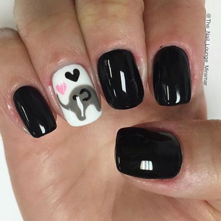 Elephant Nail Design, Animal Polish Ideas Black