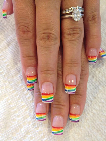 Rainbow French Nail Art, Rainbow French Wedding Manicure