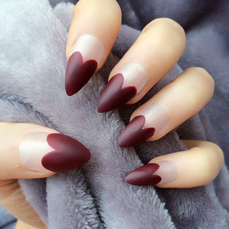 Heart Nail Art for Long Stiletto, Matte Stiletto Red Hearts