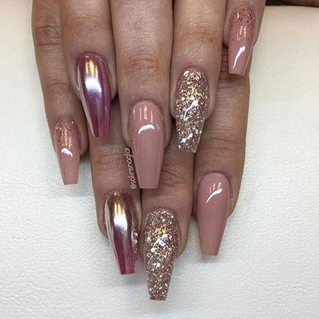 Glitter Golden Coffin Nails, Glitter Golden Acrylic Rose