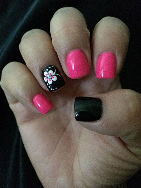 Pink Black Short Nails, Pink Black Skin Shellac