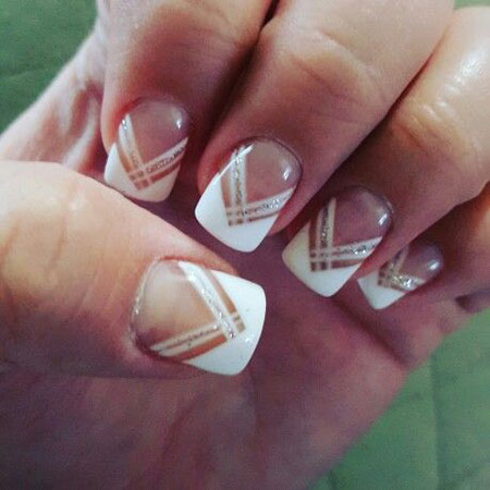 Geometric French Nail Design, French Manicure Gel Wedding