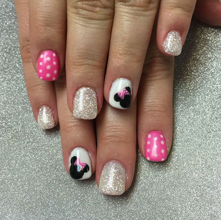 Cute and Easy Minnie Mouse Nail Design, Gel Minnie Mouse Cute