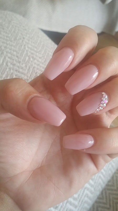 Square Pink Long Nails with Diamonds, Nude Ideas Wedding Acrylic