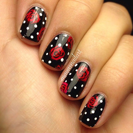 Red Rose Nail Design with Dots, Minnie Mouse Rose Photo