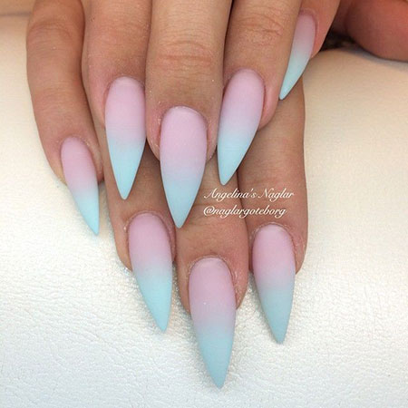Candy Pink and Blue Ombre Nail Art, Blue Pink Gradient Stiletto