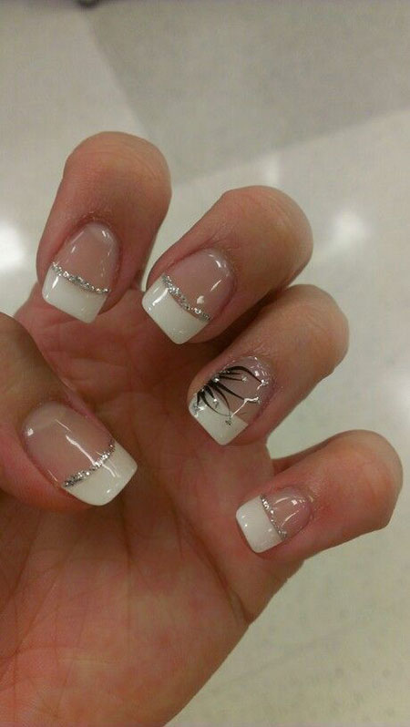 Glitter Nail Art, White Glitter French Manicure