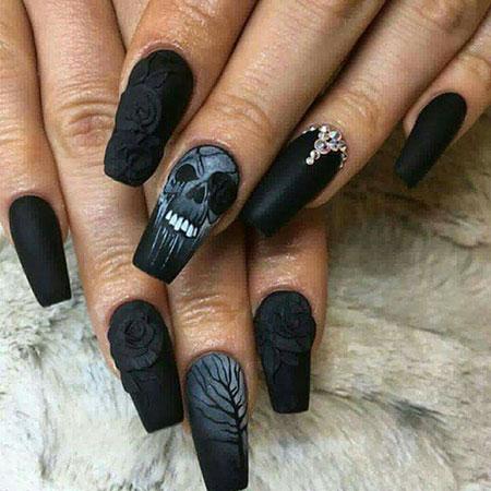 Skull Black Gray Rose