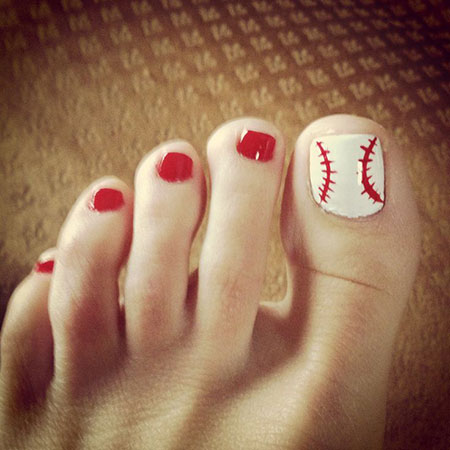 Baseball Christmas Pedicures Toe