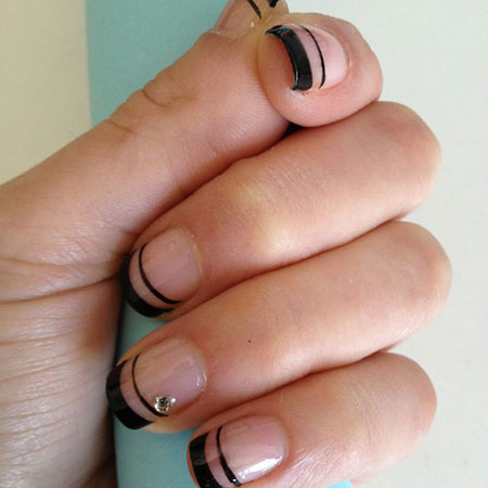 French Black Manicure Colored