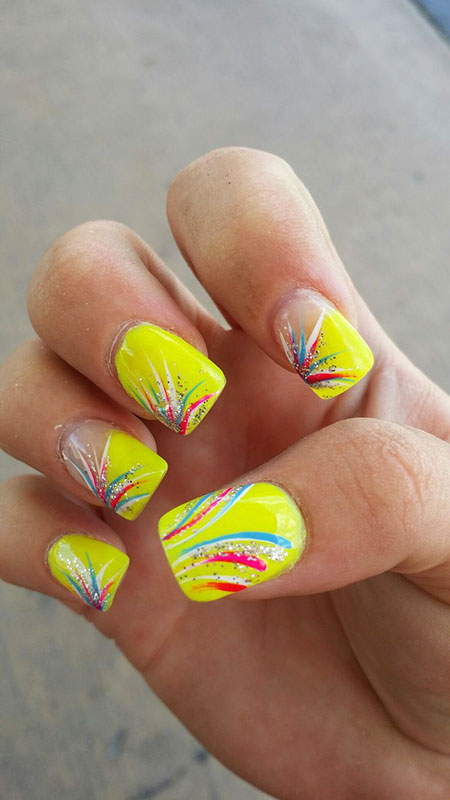 Nail Marble Blue Yellow