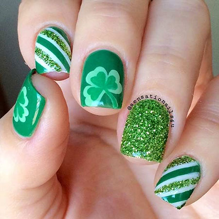 Nail Green Stripes Designs