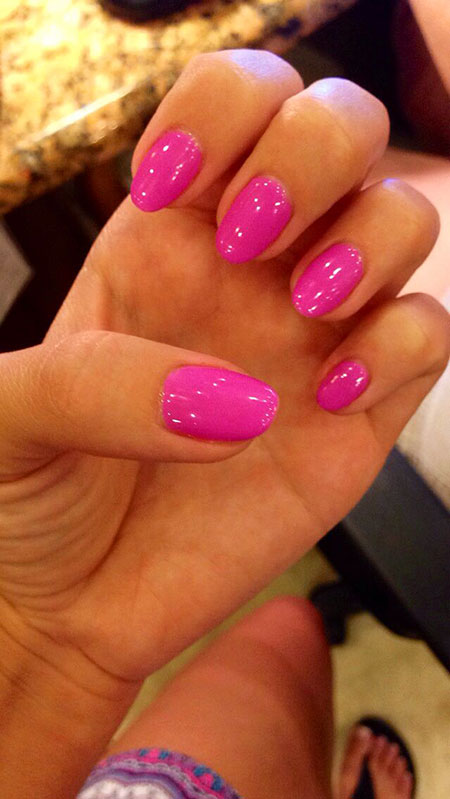 Shellac Pink Nail Oval
