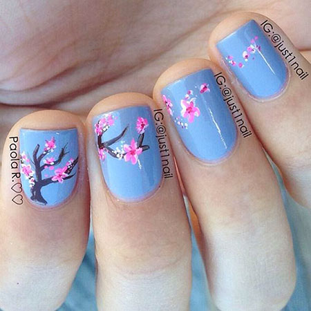 Nail Art Cherry Blossoms, Nail Cherry Flower Art