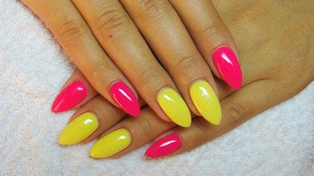 Nails Pink Yellow Manicure