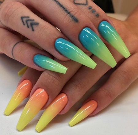 Nail Nails Coffin Ombre