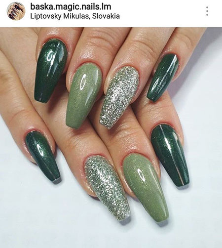 Coffin Long Nails, Nails Nail Green Colors
