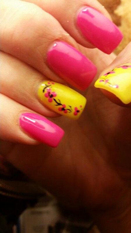 Neon Colors, Nail Nails Pink Yellow