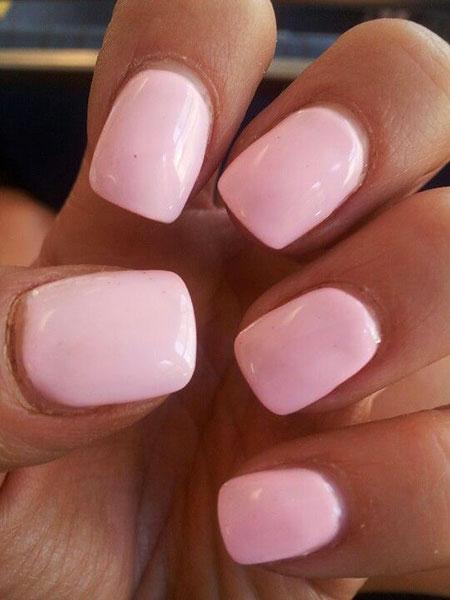 Medium Short Square Nails, Pink Nail Soft Light
