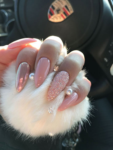 Cute Pink Nails with Crystals, Nails Nail Stiletto Designs