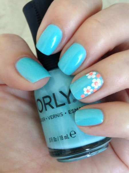 Blue Nails with Flowers, Nail Nails Blue Tropical
