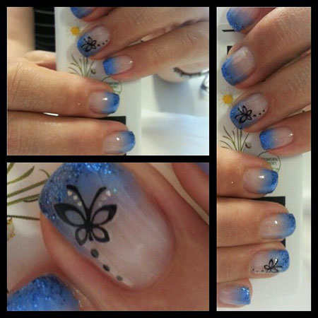 Blue Nails Butterflies, Nail Art Butterfly Nails