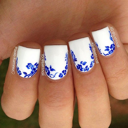 Blue and White Nails, Nail Blue Flowers Manicure